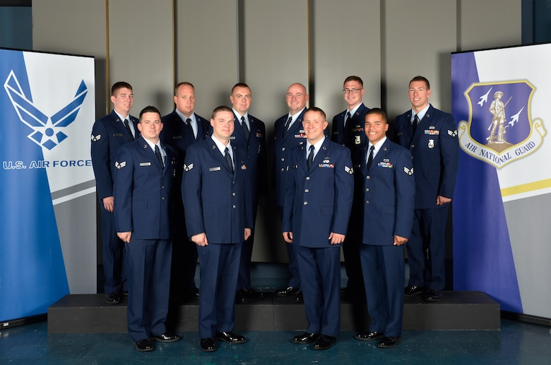 McGHEE TYSON AIR NATIONAL GUARD BASE, Tenn. ??? Students attending the Satellite Airman Leadership School Class 14-4, from the 127th Fighter Wing, Selfridge Air National Guard Base, Mich. gathers at the I.G. Brown Air National Guard Training and Education Center here, June 16, 2014. (U.S. Air National Guard photo by Master Sgt. Kurt Skoglund/Released)