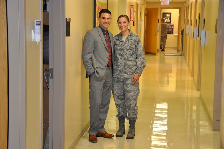 Special Agent Brad Byington, Air Force Office of Special Investigations, and Capt. Hayley Byington, a pediatric nurse practitioner at Wright-Patterson Medical Center recently help save the lives of car crash survivors. Photo by Brian Brackens