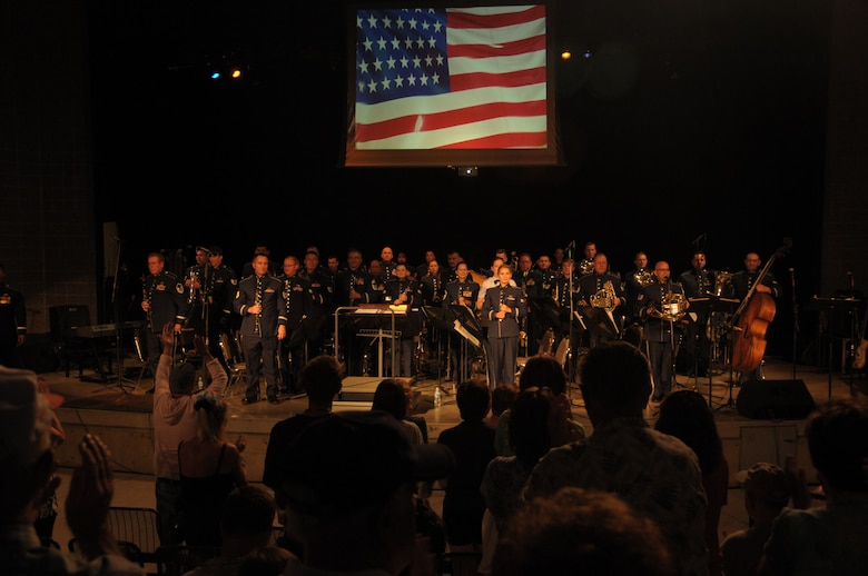 The Air National Guard Band of the West Coast performs at the Ogden City Amphitheater in Ogden City, Utah on July 2, 2014. (U.S. Air National Guard photo by Airman 1st Class Madeleine Richards/Released)