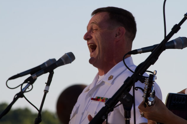 On July 5, 2014, Free Country, the Marine Band's contemporary country music ensemble, performed at National Harbor in Maryland. Pictured, Master Sgt. Kevin Bennear. (U.S. Marine Corps photo released/Gunnery Sgt. Amanda Simmons)