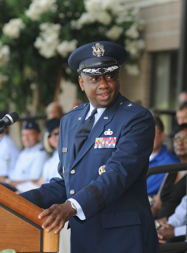Brig. Gen. Mark Brown, incoming 2nd Air Force commander, delivers remarks during the 2nd Air Force change of command ceremony July 3, 2014, at Keesler Air Force Base, Mississippi.  Brown was previously the Financial Management director, Headquarters Air Force Material Command at Wright-Patterson Air Force Base, Ohio. He replaces Maj. Gen. Leonard Patrick, who's headed to Joint Base San Antonio-Randolph, Texas, where he will become the AETC vice commander.  (U.S. Air Force photo by Kemberly Groue)