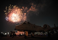 Fireworks explode above an A-10 Thunderbolt II during Liberty Fest at Osan Air Base, Republic of Korea, July 4, 2014. The static displays of an A-10 and F-16 Fighting Falcon provided the backdrop for the night's finale. (U.S. Air Force photo/Airman 1st Class Ashley J. Thum)