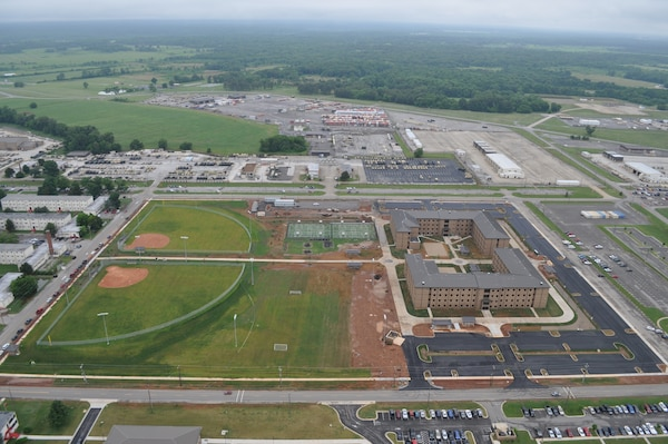 An aerial view of the recently completed Echelons Above Brigade (EAB) Barracks Complex at Fort Campbell shows the many sports fields included in the project.