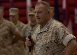U.S. Marine Corps Maj. Gen. Raymond C. Fox, commanding general of II Marine Expeditionary Force, delivers a speech during the 26th Marine Expeditionary Unit change of command ceremony aboard Camp Lejeune, N.C., June 25, 2014. Col. Matthew G. St. Clair relinquished command of the 26th MEU to Col. Robert C. Fulford. (U.S. Marine Corps Photo by Lance Cpl. Joshua W. Brown, 26th MEU Public Affairs/ Released)