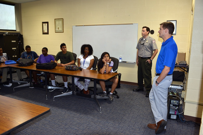 (Left) Old Hickory Park Ranger, Trey Church and Park Ranger Mark Klimaszewski from the Nashville District talk with 19 students about Water Safety.  The students are attending the Tennessee State University Engineering Department's four-week National Summer Transportation Institute program that introduces students to various aspects of engineering on July 1, 2014 on the campus of TSU.