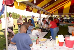Jeremiah's Kansas City-style BBQ provided food and non-alcoholic beverages during the Independence Day celebration on Lejeune Field July 4, 2014.