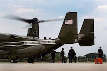 Japanese Minister of Defense Itsunori Onodera boards a Marine Helicopter Squadron One MV-22B Osprey at the Pentagon July 10, 2014. Onodera met with Gen. John M. Paxton, Jr. to discuss the importance of the relationship between the Marine Corps and the Japan Ground Self-Defense Force.