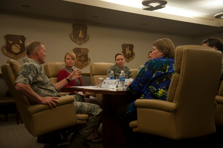 Chief Master Sgt. of the Air Force, James A. Cody, discusses sexual assault prevention with Vandenberg's Sexual Assault Response Coordinator and support team, July 8, 2014, Vandenberg Air Force Base, Calif. During the session, Cody received base level feedback on ways he can help improve prevention at a higher level. (U.S. Air Force photo by Michael Peterson/Released)
