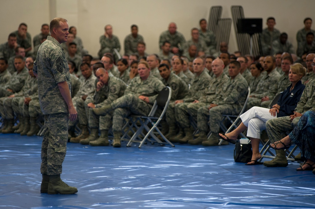 Chief Master Sgt. of the Air Force, James A. Cody, speaks with Vandenberg Airmen during an all-call, July 8, 2014, Vandenberg Air Force Base, Calif. Cody thanked the Airmen for their service and answered questions on the new feedback system, future E-7 promotion boards, and special duty requirements and selections. (U.S. Air Force photo by Michael Peterson/Released)