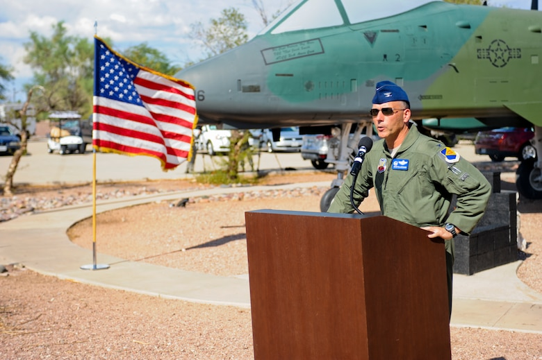 U.S. Air Force Col. Kevin Blanchard, 355th Fighter Wing commander, gives opening remarks during the opening ceremony of the 2014 Hawgsmoke Competition at Davis-Monthan Air Force Base, Ariz., July 9, 2014. As with tradition, since D-M won the last competition, the Desert Lightning Team is given the honor of hosting this year's competition. (U.S. Air Force photo by Airman 1st Class Sivan Veazie/Released)