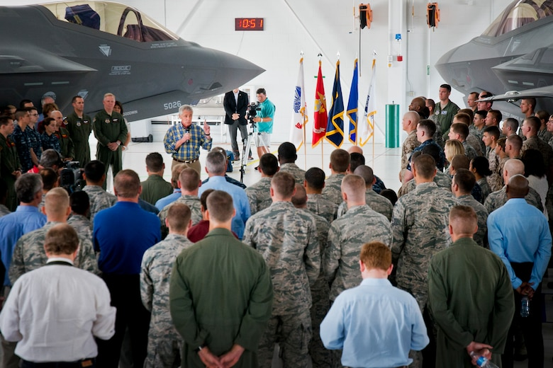Defense Secretary Chuck Hagel addresses 33rd Fighter Wing service members during a troop call July 10 at Eglin Air Force Base, Fla.  Hagel visited the base to tour the wing and the F-35 Lightning II integrated training center.  During his tour, he held a 45-minute troop call to praise the work of the service members who began and continue to improve the DOD's newest fighter program.  (U.S. Air Force photo/Samuel King Jr.)