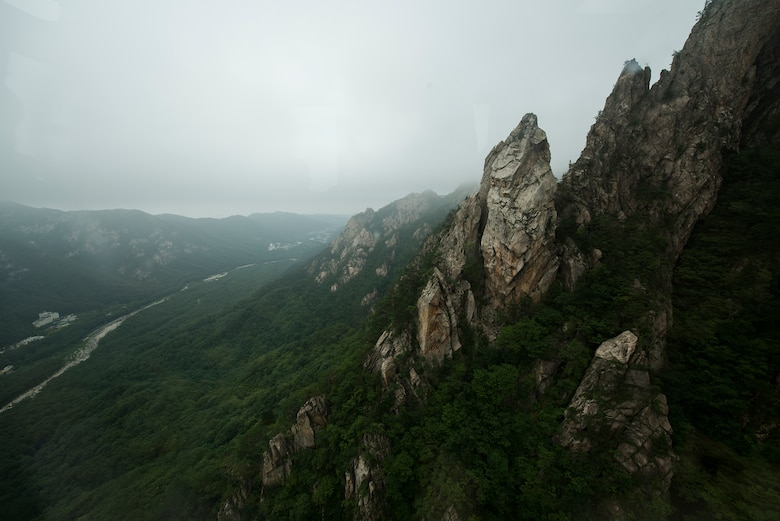 Seoraksan National Park in Sokcho, Republic of Korea, July 5, 2014. Entry to the park costs W3,500 for adults. There are numerous hiking trails of various distances from 1.5 to 16 kilometers. (U.S. Air Force photo by Staff Sgt. Jake Barreiro)