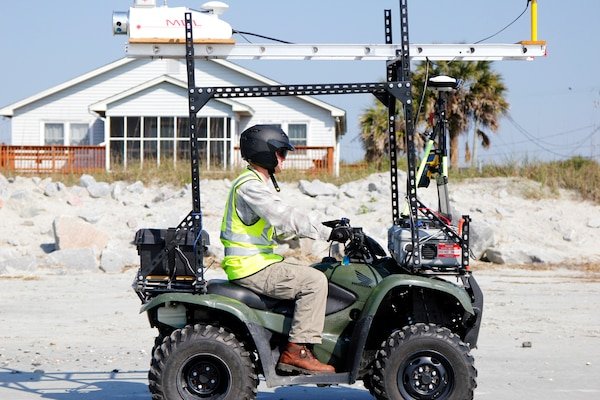 The Charleston District recently acquired a Light Detection and Ranging (LiDAR) system that allows us to get detailed imagery of the topography of our projects. The survey team mounted the LiDAR onto an ATV and created the RAMbLr (Rapid Assessment Mobile LiDAR) which enables them to take quick assessments of project conditions.
