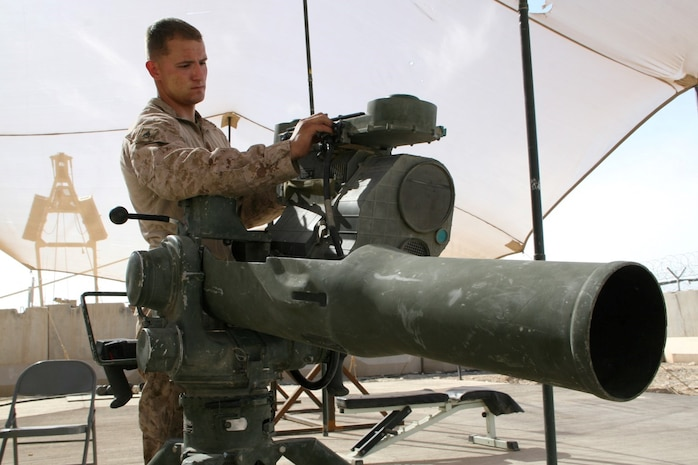 U.S. Marine Sgt. Michael M. Estes, 20, a native of Torrance, Calif., and electro-optical ordnance repairer with Combat Logistics Battalion 7, Regional Command (Southwest), performs maintenance on a Tube Launched Optically Tracked, Wire-guided missile system outside of the ordnance maintenance headquarters aboard Camp Leatherneck, Helmand province, Afghanistan, April 9, 2014. Estes deployed to Afghanistan during January 2014, and kept Marine Corps individual and heavy weapons optics in the fight during ongoing security operations and led redeployment and retrograde efforts of Marine Corps equipment from the region.