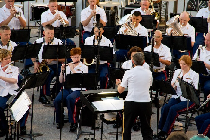 Maj. Michelle A. Rakers will lead the U.S. Marine Band in a Summer Fare Concert on the steps of the U.S. Capitol July 23 & 24 at 8 p.m. (U.S. Marine Corps photo by Gunnery Sgt. Amanda Simmons/released).