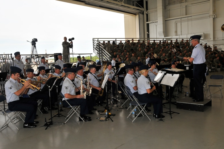 The Air National Guard Band of the South performs July 3, 2014, during the change of command ceremony for the Air Force Special Operations Command at Hurlburt Field, Fla. The band is driving through several states during its summer concert series. (U,S, Air National Guard photo by Senior Master Sgt. Paul Mann/Released)