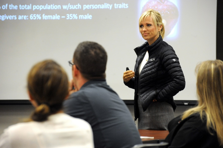 Dr. DeAnn Smetana, 142nd Fighter Wing director of physiological health, emphasized the concept of self-care for victim advocates during her presentation as part of the three days of training for Sexual Assault Preventing and Response (SAPR) training, June 24-26, Portland Air National Guard Base, Ore. (U.S. Air National Guard photo by Tech. Sgt. John Hughel, 142nd Fighter Wing Public Affairs/Released)