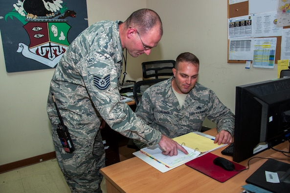 Tech. Sgt. Joshua Brock, 386th Expeditionary Maintenance Group quality assurance inspector reviews aircraft forms with Senior Master Sgt. Brian Eshleman, 386th EMXG QA superintendent July 11, 2014 at The Rock. Both Brock and Eshleman who deployed in support of Operation Enduring Freedom found that maintenance errors on aircraft forms went to zero percent after a training program for maintainers was implemented by Master Sgt. John Meyers who deployed from the 146th Airlift Wing, Channel Islands Air National Guard Station, California. Brock deployed from Davis-Monthan Air Force Base, Arizona and is a native of West Branch, Michigan and Eshleman deployed from Dover AFB, Delaware and is from Lancaster County, Pennsylvania. (U.S. Air Force photo by Senior Master Sgt. Allison Day)