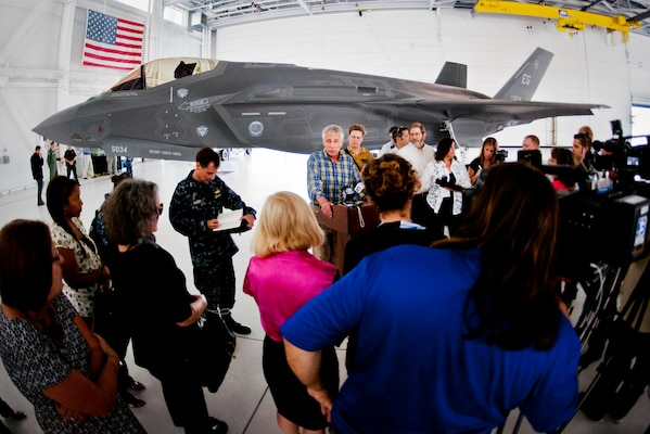 Defense Secretary Chuck Hagel speaks with reporters after touring the 33rd Fighter Wing and the F-35 Lightning II integrated training center at Eglin Air Force Base, Fla., July 10, 2014. During his visit, he met with Eglin service members for 45 minutes to praise their work in the Defense Department's newest fighter program. U.S. Air Force photo by Samuel King Jr.