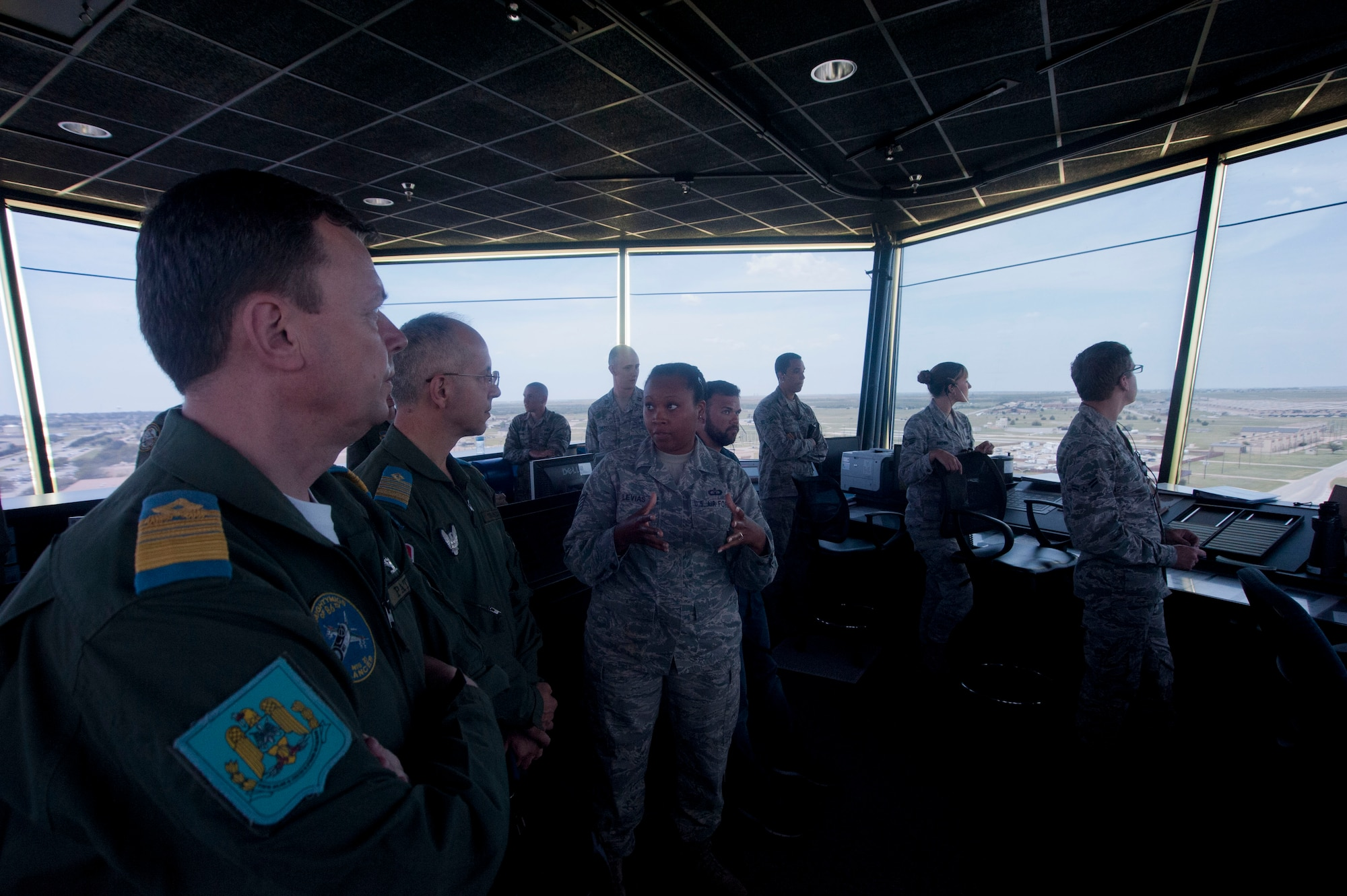 Members of the Romanian air force visited Sheppard Air Force Base, Texas, July 8, 2014, to gain knowledge of the Euro-NATO Joint Jet Pilot Training program. The visit was meant to establish international bonds and potential joint training ventures. (U.S. Air Force photos/Airman 1st Class Jelani Gibson)