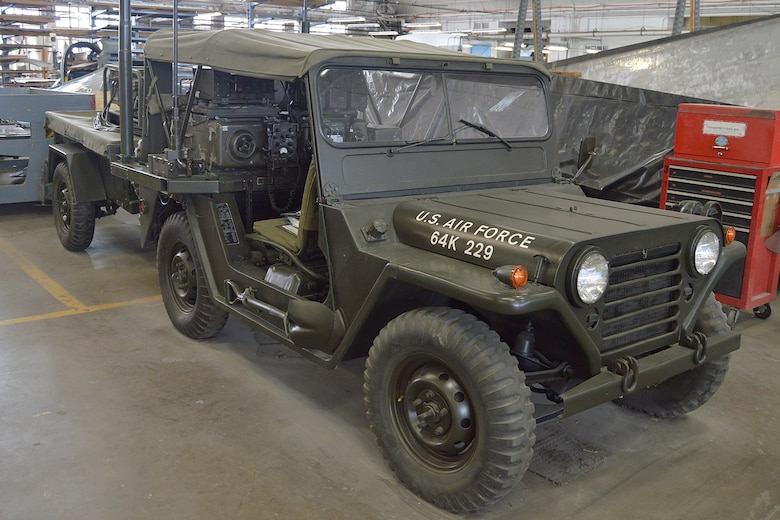 DAYTON, Ohio  -- Volunteers have nearly completed restoration work on the M151 Jeep. This vehicle was modified into a Forward Air Control (FAC) Jeep, which communicated with FAC aircraft to aid troops on the ground during the Southeast Asia War. (U.S. Air Force photo by Ken LaRock)