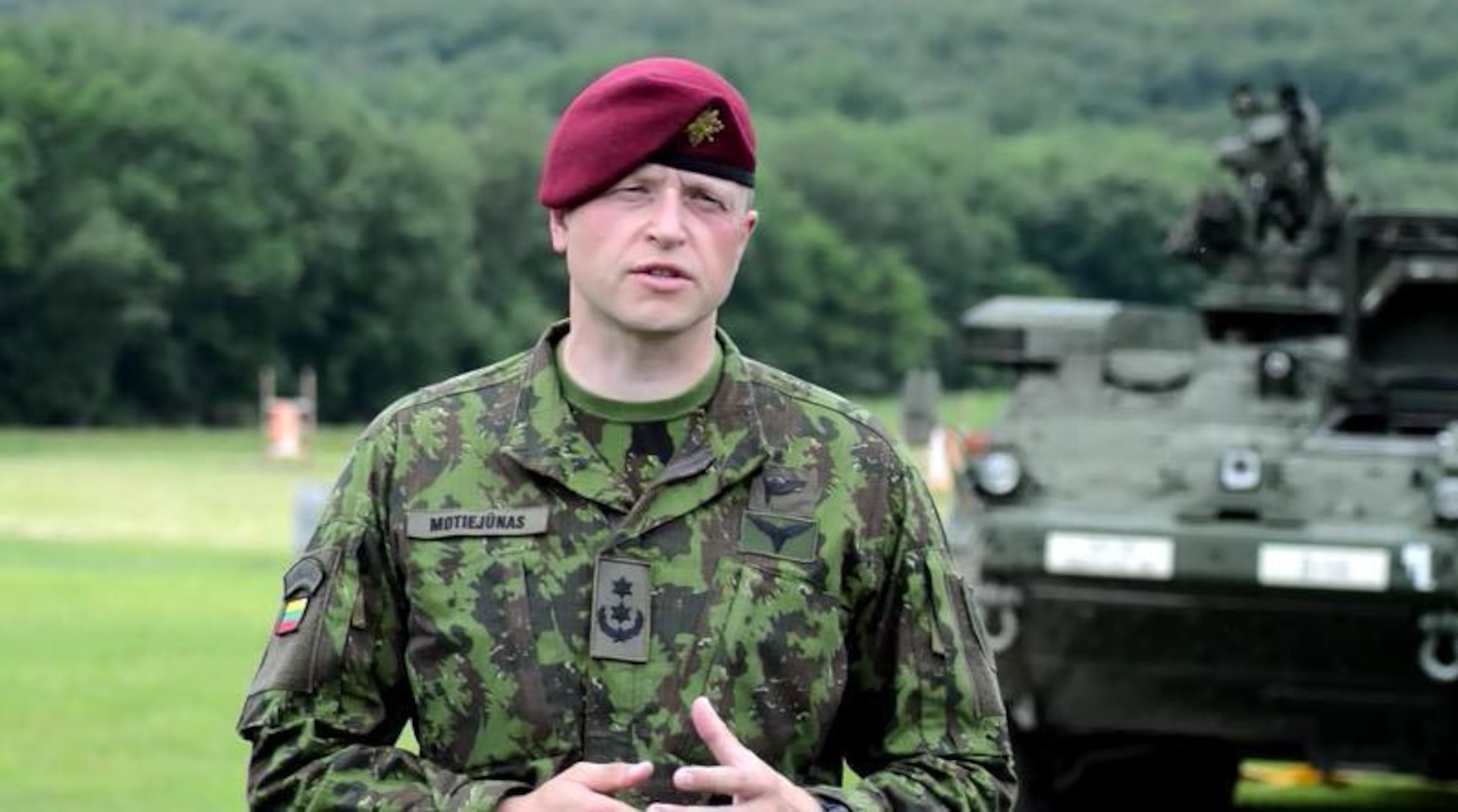 Lithuanian Lt. Col. Aurelijus Motiejunas speaks about his experience training alongside Pennsylvania National Guard soldiers from the 28th Infantry Division at Fort Indiantown Gap.