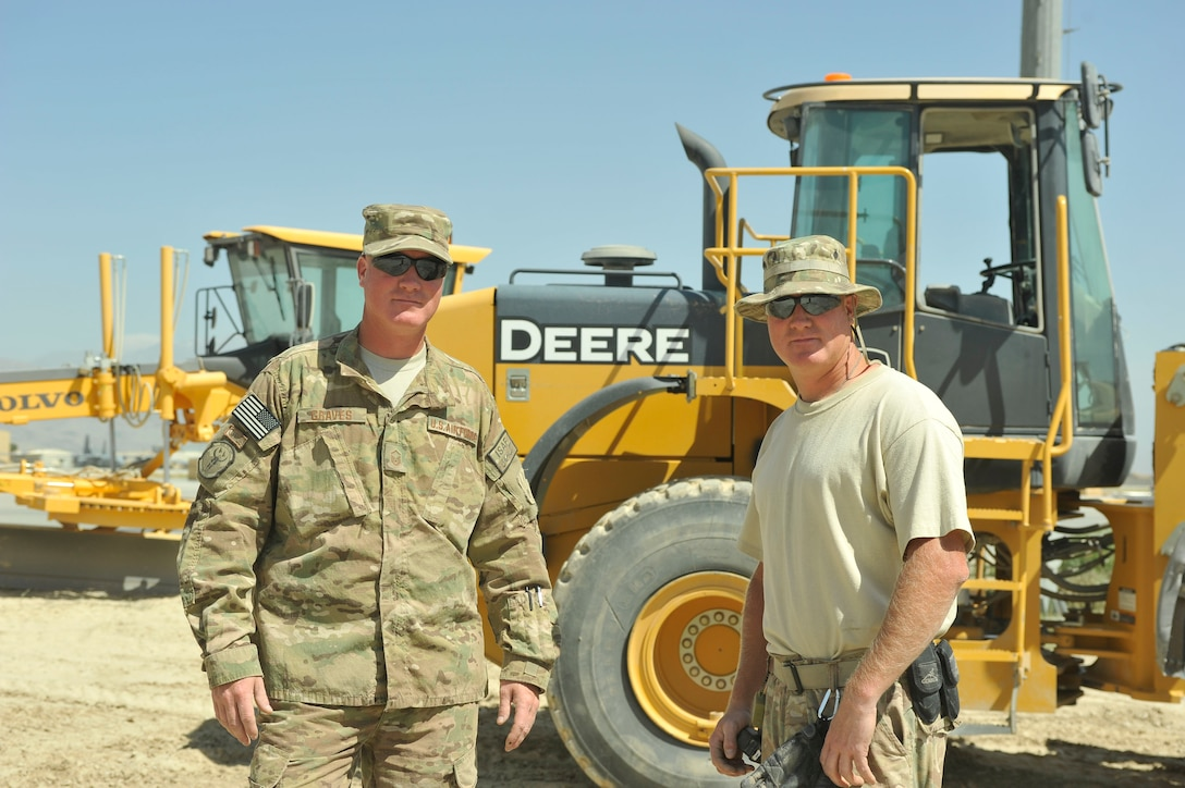 Master Sgt. Jeremiah Graves, left, and Master Sgt. Joshua Graves stand together in front of a work site July 1, 2014, on Bagram Airfield, Afghanistan. Joshua and Jeremiah, identical twins, are deployed from the Air National Guard's 148th Fighter Wing, Duluth, Minn. Jeremiah is a 455th Expeditionary Civil Engineer Squadron heavy equipment supervisor and Joshua is a 455th ECES project manager. (U.S. Air Force photo/Airman 1st Class Bobby Cummings)