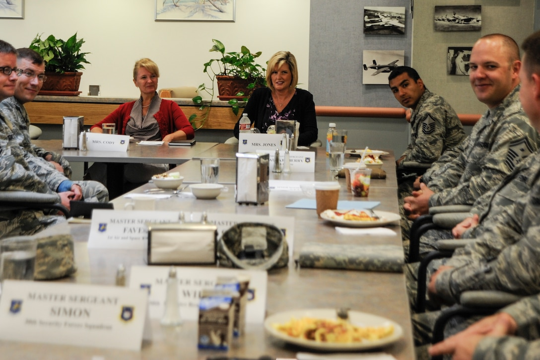 Mrs. Athena Cody, wife of Chief Master Sgt. of the Air Force, James A. Cody, has breakfast with Team Vandenberg First Sergeants July 8, 2014, Vandenberg Air Force Base, Calif.  Mrs. Cody spoke on the importance of the Key Spouses program and taking care of Airmen and families.  During her visit, Mrs. Cody toured numerous facilities that offer programs to improve quality of life for the enlisted force and their families. (U.S. Air Force photo by Airman 1st Class Yvonne Morales/Released)