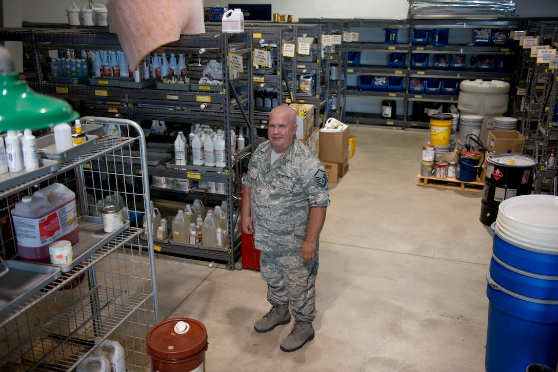Master Sgt. Ronnie Dailey, the hazardous materials pharmacy (HazMart) manager in the Logistics Readiness Squadron at the 167th Airlift Wing in Martinsburg, W.Va., stands among some of the 1,200 HazMart items at the 167th HazMart. Dailey is responsible for controlling and maintaining accountability of all hazardous materials on the wing. (Air National Guard photo by Staff Sgt. Jodie Witmer)