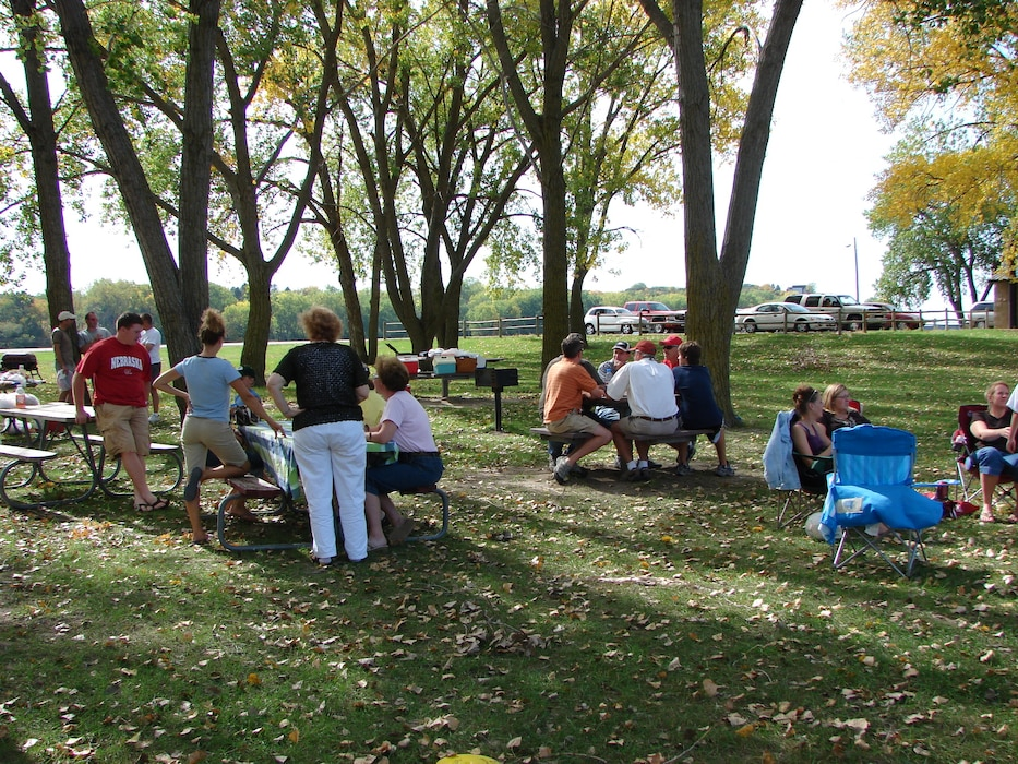 A group picnics at the Training Dike Recreation area at Gavins Point Project