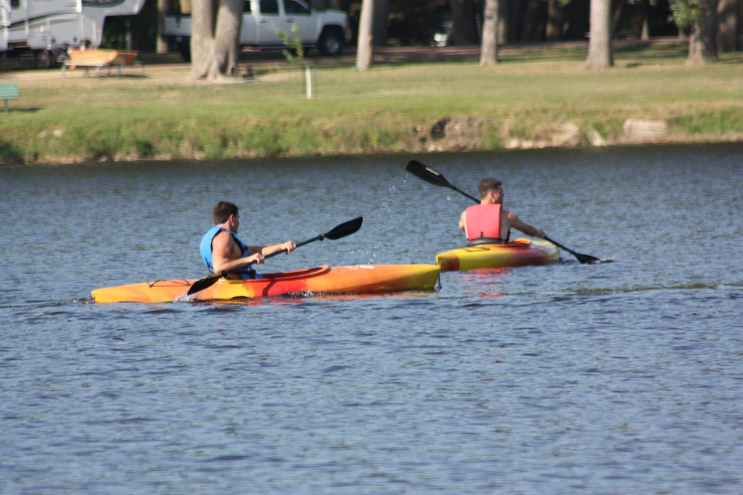 Kayakers spend some time on Lake Yankton at the Gavins Point Project.  Lake Yankton is a favorite for kayakers because of the gas motor restriction on the lake