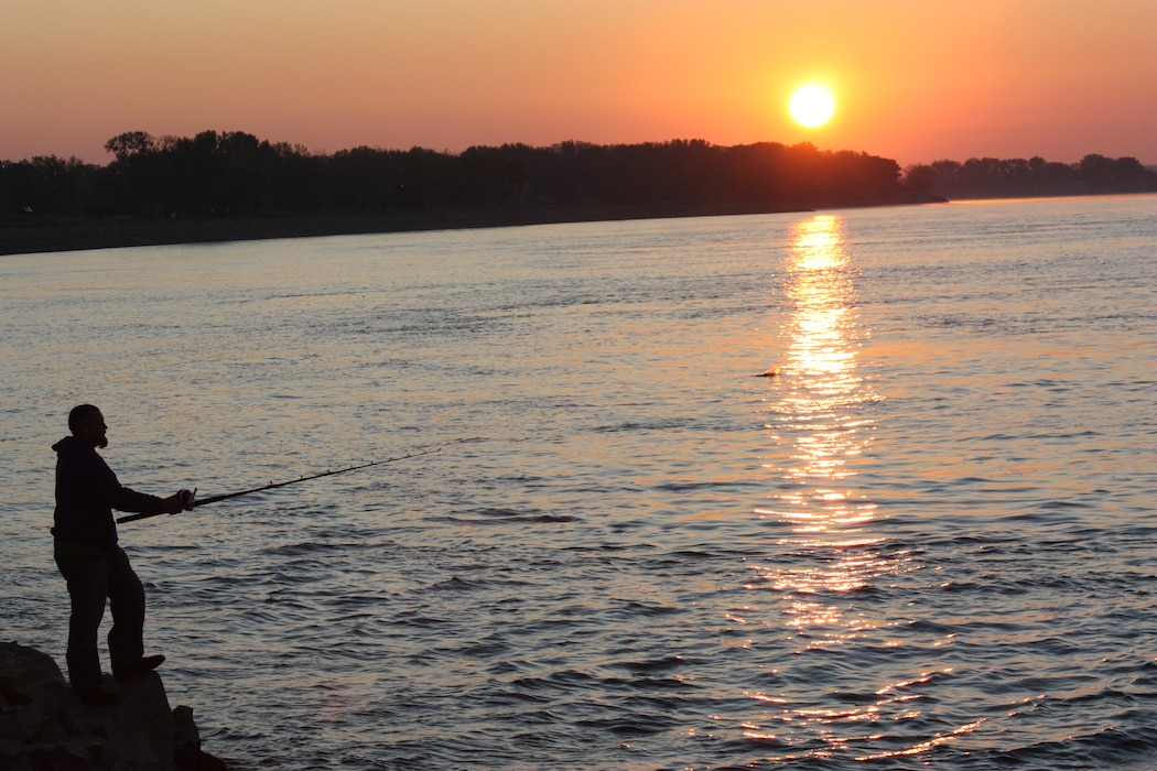 A man spends time on the Missouri River below Gavins Point Dam fishing.