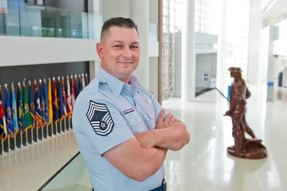Chief Master Sgt. Christopher C. Guy is the personnel area functional manager assigned to the Air National Guard Readiness Center, Joint Base Andrews, Md. He will serve on a three member team that will make recommendations on enhanced data sharing and the efficient transfer of the service member treatment records between the Defense Department and the Department of Veterans Affairs. (U.S. Air National Guard photo/Master Sgt. Marvin. R. Preston)
