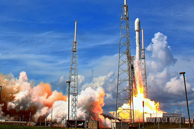 The 45th Space Wing supported Space Exploration Technologies' successfully launches a Falcon 9 rocket carrying six second-generation ORBCOMM communications satellites July 14, 2014, from Space Launch Complex 40, at Cape Canaveral Air Force Station, Fla. (Courtesy photo/Alan Walters)