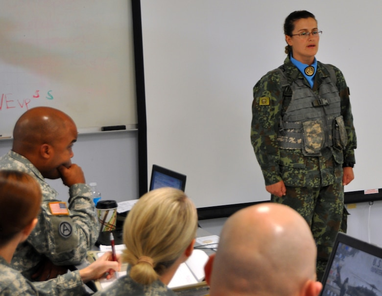 Albanian Sgt. Marjana Kotarja Speaks To U.S. Army Officers About The Officer  Candidate School She