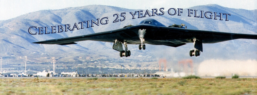 The B-2 Spirit celebrates its 25th anniversary of flight July 17, 2014, providing the Airmen and civilians who work with the airframe a chance to reflect on the strategic impact 20 aircraft can have in the entire Defense Department arsenal. (Courtesy photo)