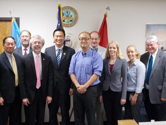 Participants in the IWR-Korean discussion included (l-r) Mr Jim Ligh (POD), Dr Will Logan, Mr Bob Pietrowsky,  Mr Sang-heon Lee (Korean Embassy), Mr Sang-heon Lee (World Bank), Dr Jerry Delli Priscoli, Dr Michelle Haynes, Ms Marriah Abellera, and Mr Charley Chesnutt.