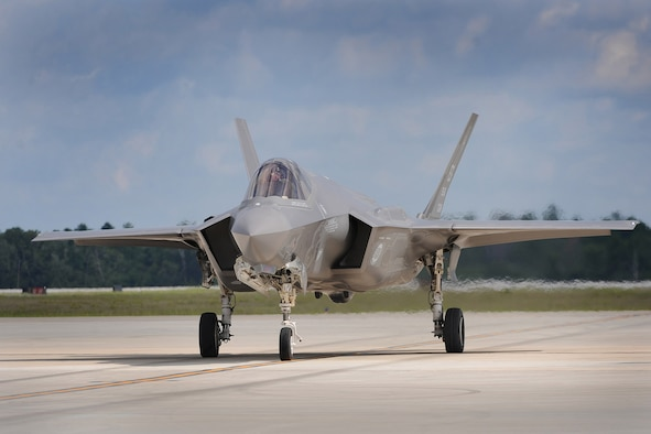 An F-35A on the flightline at Eglin Air Force Base, Fla. (Air Force photo/Marvin Lynchard)
