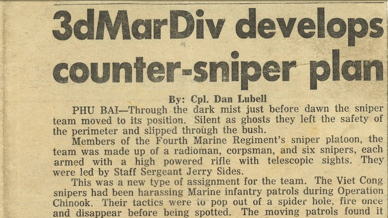 A newspaper clipping tells about retired Marine Walt Sides and the sniper platoon under his charge during the Vietnam War. Sides' platoon, nicknamed 'the Rogues,' was the first Marine Corps scout sniper platoon trained exclusively in a combat zone. (Photo courtesy of Walt Sides)