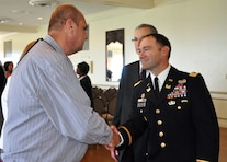 Dave Gerczak, outreach coordinator, took time to talk to Lt. Col. Michael L. Sellers the incoming commander for the Detroit District after the change of command ceremony July 10, 2014.