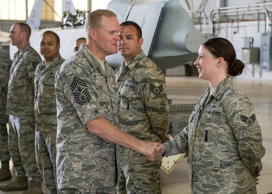 Chief Master Sergeant of the Air Force James A. Cody visited with 412th Maintenance Group maintainers to thank them for their service July 14, 2014, on Edwards Air Force Base, Calif. Cody and his wife, Athena, were given a 412th Test Wing mission brief during their visit and spent time with Airmen at various units on base including, the Joint Strike Fighter Integrated Test Force, 412th Aerospace Medicine Squadron, 412th Security Forces Squadron and the Edwards AFB tower. (U.S. Air Force photo/Aaron Lewis)
