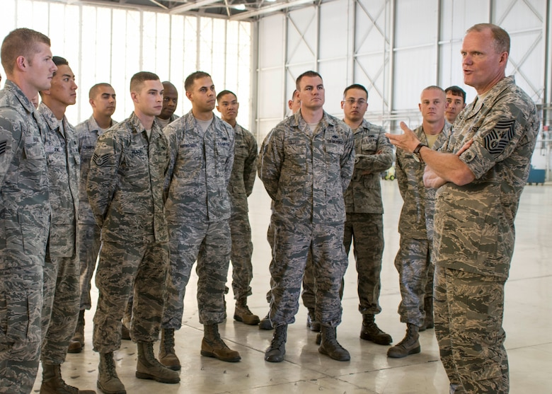 Chief Master Sergeant of the Air Force James A. Cody, right, speaks with Airmen of the 412th Maintenance Group during his visit July 14, 2014, on Edwards Air Force Base, Calif. (U.S. Air Force photo/Aaron Lewis)