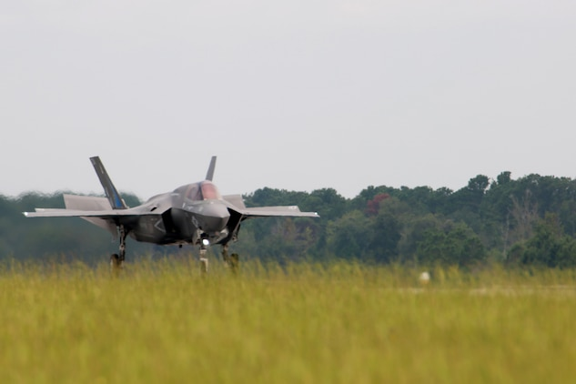 The first F-35B Lightning II Joint Strike Fighter assigned to Marine Fighter Attack Training Squadron 501 (VMFAT-501) lands aboard Marine Corps Air Station Beaufort, July 17. The aircraft is the first to join VMFAT-501 at MCAS Beaufort since relocating from Eglin Air Force Base, Fla. late last week. The F-35B Lightning II JSF will replace the Marine Corps' aging legacy tactical fleet. In addition to replacing the F/A-18A-D Hornet, the F-35B will replace the AV-8B Harrier and EA-6B Prowler, essentially necking down to one common tactical fixed-wing aircraft and providing the dominant, multi-role, fifth-generation capabilities needed across the full spectrum of combat operations to deter potential adversaries and enable future naval aviation power projection.