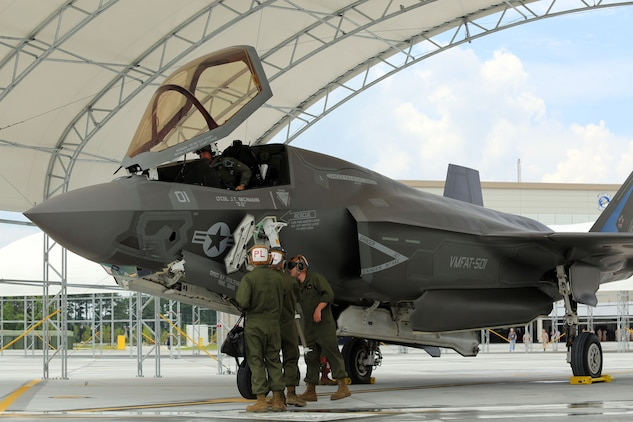 The first F-35B Lightning II Joint Strike Fighter assigned to Marine Fighter Attack Training Squadron 501 arrived at Marine Corps Air Station Beaufort, July 17. The aircraft is the first to join VMFAT-501 at MCAS Beaufort since relocating from Eglin Air Force Base, Fla. last week.The F-35B Lightning II Joint Strike Fighter will replace the Marine Corps' aging legacy tactical fleet. In addition to replacing the F/A-18A-D Hornet, the Marine Corps will replace the AV-8B Harrier and EA-6B Prowler. The integration of the F-35B Lightning II Joint Strike Fighter into the Marine Corps' arsenal provides the dominant, multi-role, fifth-generation capabilities needed across the full spectrum of combat operations to deter potential adversaries and enable future naval aviation power projection.