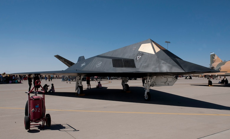 The famed F-117 Nighthawk was returned to the Holloman Heritage Park on June 28, 2014, after a 4-month restoration project. After being exposed to the elements since 2008, the aircraft was in need of repair. The 49th Maintenance Squadron returned the aircraft to the condition it was in during its stay at Holloman. The aircraft was painted to represent aircraft 793 which dropped the first bombs in Operation Iraqi Freedom. The aircraft is actually Scorpion 3, which is one of the original Senior Trend aircraft and was used to reveal the Stealth's existence to officials in December 1983 when the program was still top secret. The restored F-117, shown here, made its debut at the Holloman Open House in May 2014. (U.S. Air Force photo by Mr. Arlan Ponder)