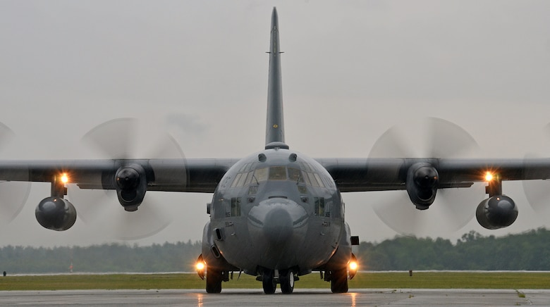 A C-130 Hercules taxis on the flightline July 14, 2014, at Westover Air Reserve Base, Mass. The C-130 crew picked up 12 Airmen assigned to the 439th Aeromedical Evacuation Squadron. AE units provide tactical aeromedical evacuation for injured U.S. troops and regional unified commands. Flight nurses and medical technicians have the capability to fly patients on more than five different aircraft, which include the C-17 Globemaster III, KC-135 Stratotanker, C-21, C-130, and the KC-10 Extender. (U.S. Air Force photo/Staff Sgt. Kelly Goonan)