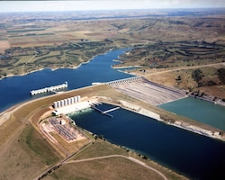 Lake Francis Case and Fort Randall Dam are located within the rolling plain of the Missouri Plateau, and bordered by rugged bluffs, broken by a complex of eroded canyons and ravines and has become one of the most popular recreation spots in the Great Plains. Fort Randall Dam lies within view of the military post from which it takes its name. The name of the original fort honored Colonel Daniel W. Randall, one-time deputy paymaster of the Army.