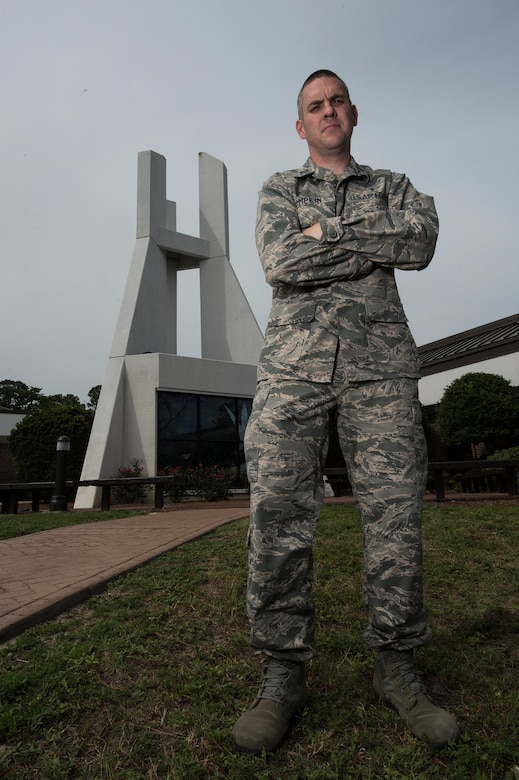 Chaplain (Capt.) Doug Lumpkin, 1st Special Operations Wing, poses for a photo at Hurlburt Field, Fla., July 18, 2014. Lumpkin is the chaplain for the 1st Special Operations Maintenance Group and is responsible for advising leadership, conducting worship services, and caring for Airmen and their families. (U.S. Air Force photo/Airman 1st Class Jeff Parkinson)