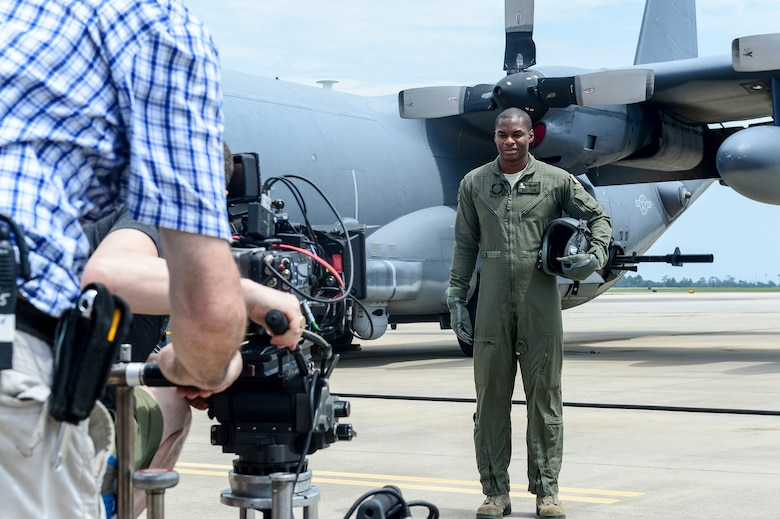 Staff Sgt. Blake Owens, 4th Special Operations Squadron special missions aviator, filmed during an Air Force Recruiting commercial at Hurlburt Field, Fla., July 20, 2014. GSD&M Advertising filmed at Hurlburt Field for two days. (U.S. Air Force photo/Airman 1st Class Jeff Parkinson)