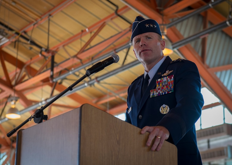 Lieutenant General Tod D. Wolters, 12th Air Force (Air Forces Southern) commander, speaks to 49th Wing members during an assumption of command ceremony at Holloman Air Force Base, N.M., July 18. Wolters visited Holloman to officiate Kiebler's assumption of command of the 49th Wing. (U.S. Air Force photo by Airman 1st Class Aaron Montoya / Released)